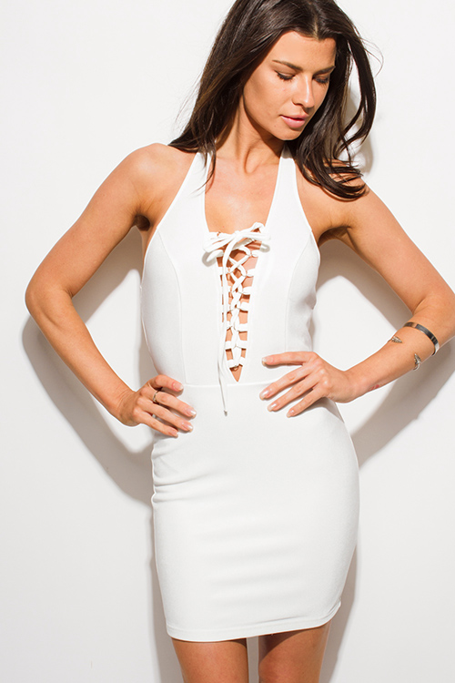 Cute cheap ivory white laceup halter backless bodycon fitted club mini dress