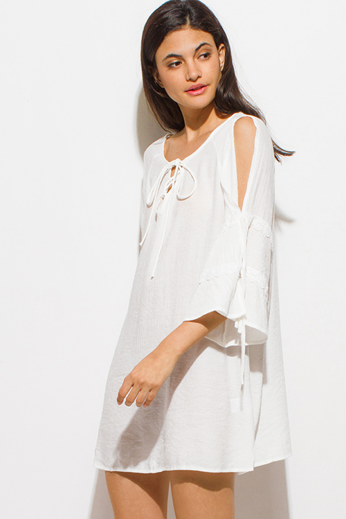 Cute cheap ivory white long slit tiered angel bell sleeve keyhole tie front boho peasant mini dress