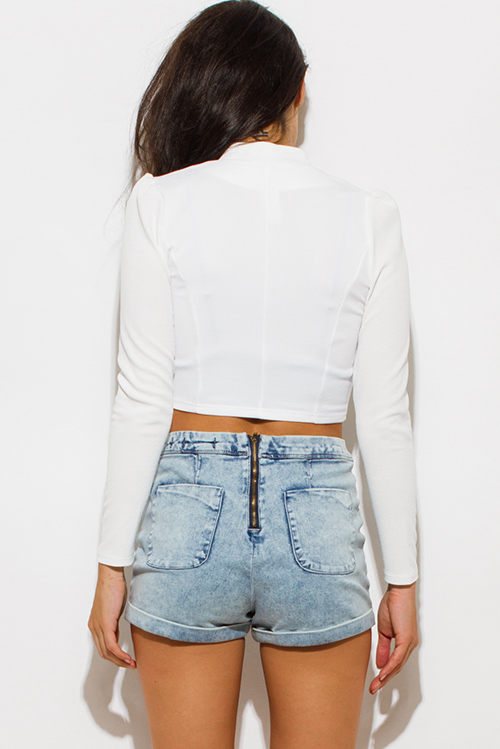 Cute cheap ivory white mandarin collar long sleeve zip up fitted jacket crop top