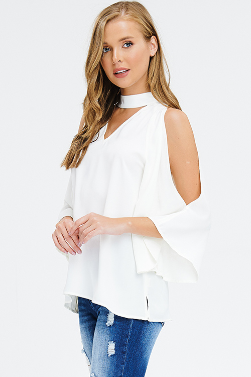 Cute cheap ivory white mock neck cut out slit quarter bell sleeve keyhole back boho blouse top