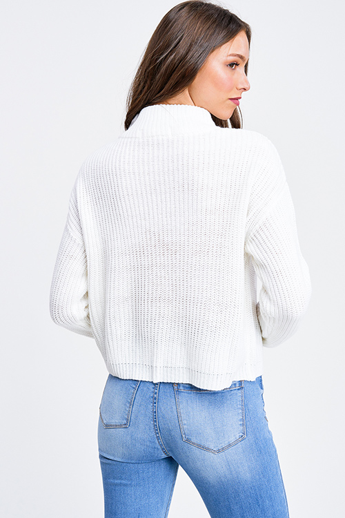 Cute cheap Ivory white mock neck quarter zip up boho retro ribbed sweater top
