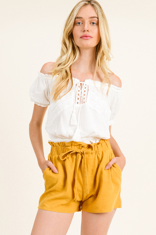 Cute cheap Ivory white off shoulder crochet lace applique boho peasant crop top