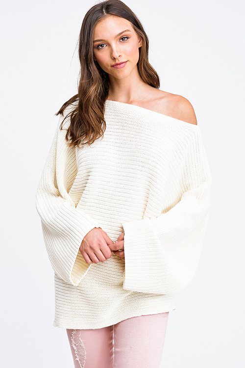 Cute cheap Ivory white off shoulder waffle knit long dolman sleeve boho sweater tunic top