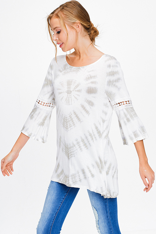 Cute cheap Ivory white olive green tie dye quarter bell sleeve crochet trim boho tunic top