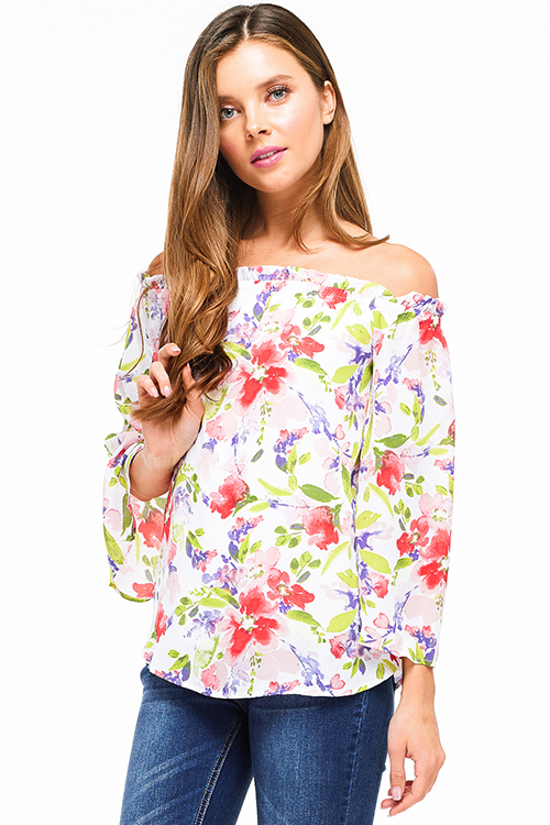 Cute cheap Ivory white pink watercolor floral print off shoulder wide sleeve boho party top