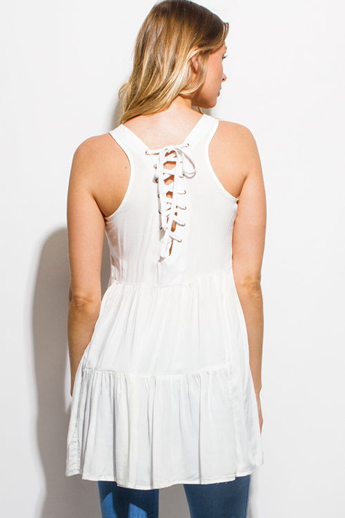 Cute cheap ivory white quilted tiered laceup tie racer back boho tunic tank top