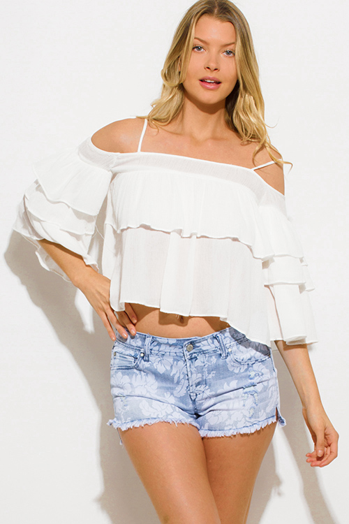 Cute cheap ivory white rayon gauze tiered ruffled cold shoulder flutter sleeve boho top