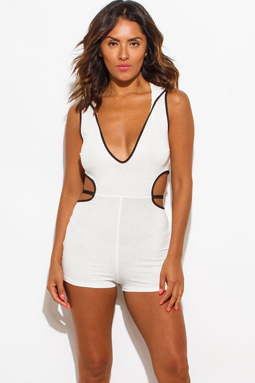 Cute cheap ivory white ribbed knit deep v neck cut out hoodie sport fitted romper jumpsuit