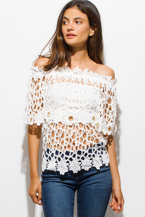 Cute cheap ivory white see through bejeweled crochet lace off shoulder boho beach cover up top