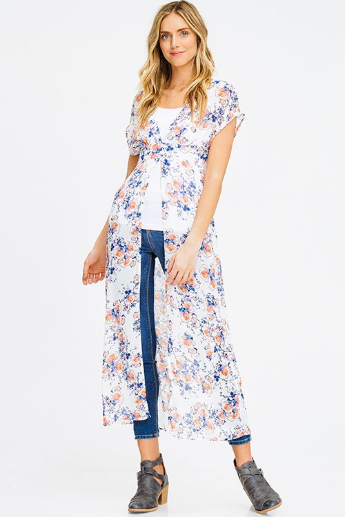 Cute cheap ivory white sheer chiffon floral print buttoned short sleeve boho beach cover up maxi top