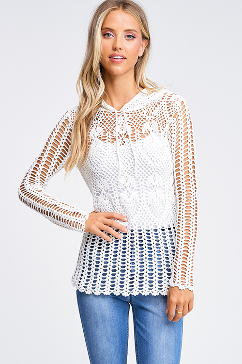 Cute cheap Ivory white sheer crochet knit long sleeve scallop hem hooded boho top