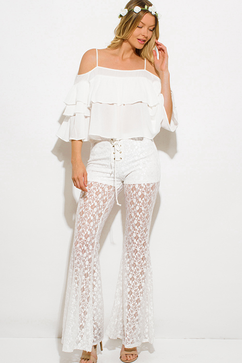 Cute cheap ivory white sheer floral polka dot lace mesh laceup scallop hem boho wide flare leg pants