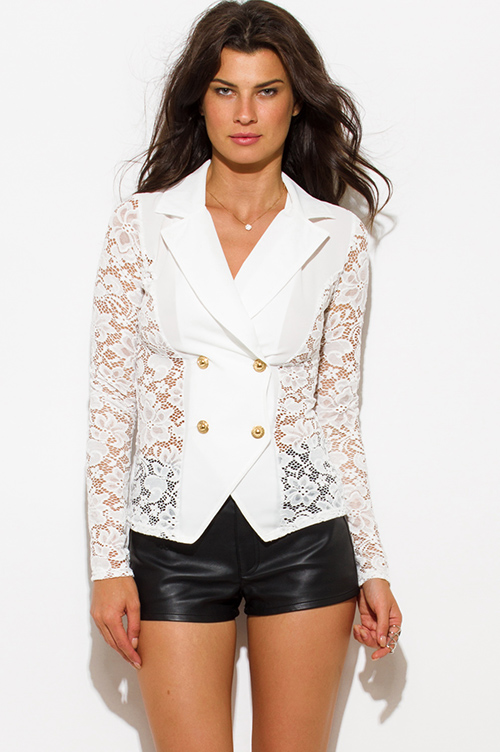 Cute cheap ivory white sheer lace double breasted golden button blazer jacket top