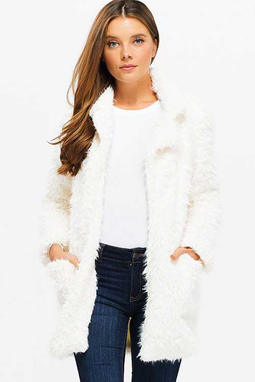 Cute cheap Ivory white sherpa fleece faux fur open front pocketed blazer duster coat jacket