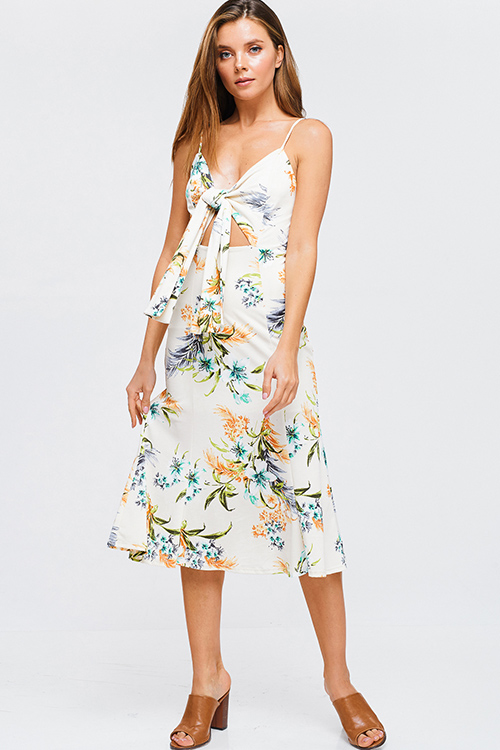 7ea3c5b5351 Centropica midi. Ivory white sleeveless tropical floral print cut out tie  front boho pencil midi sun dress