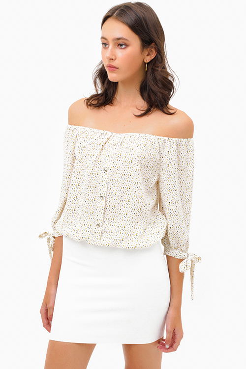 Cute cheap Ivory white speckle print off shoulder quarter tie sleeve button trim boho blouse top