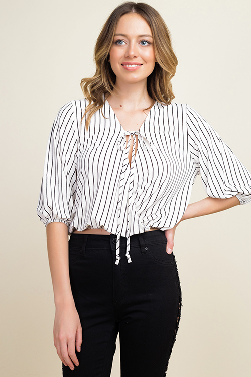 Cute cheap Ivory white striped quarter sleeve surplice tie front boho blouse top