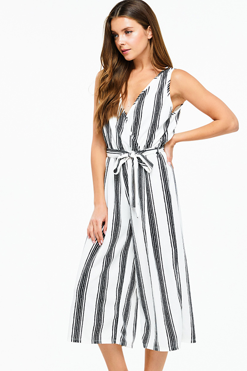 Cute cheap Ivory white striped sleeveless surplice tie waist wide leg boho cropped jumpsuit