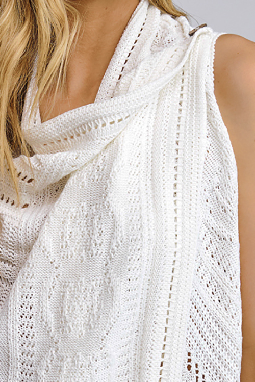 Cute cheap Ivory white sweater knit draped open front buttoned boho vest cardigan top