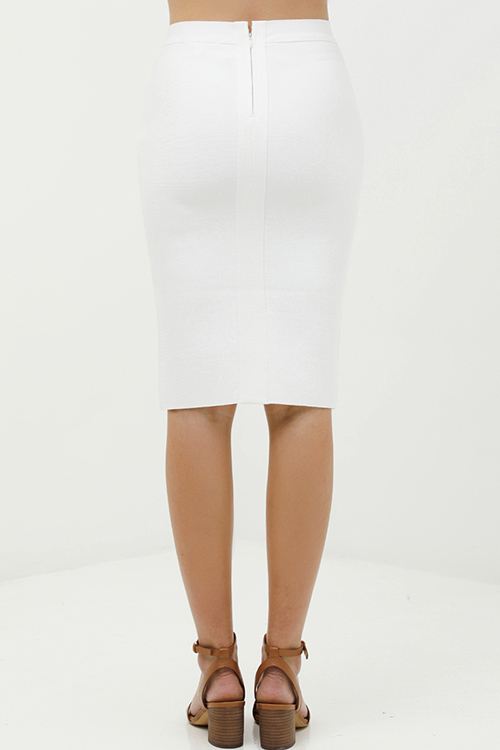 Cute cheap Ivory white sweater knit high waisted bodycon fitted zip up pencil midi skirt