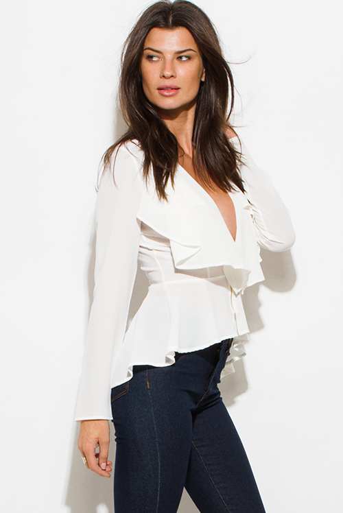 Cute cheap ivory white textured fabric deep v neck tiered ruffle high low hem blouse jacket top