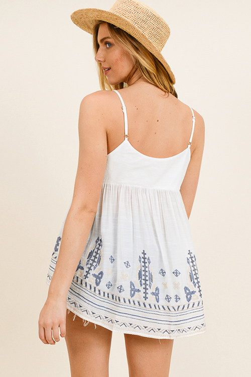 Cute cheap Ivory white thin strap ethnic embroidered boho peasant swing tank top