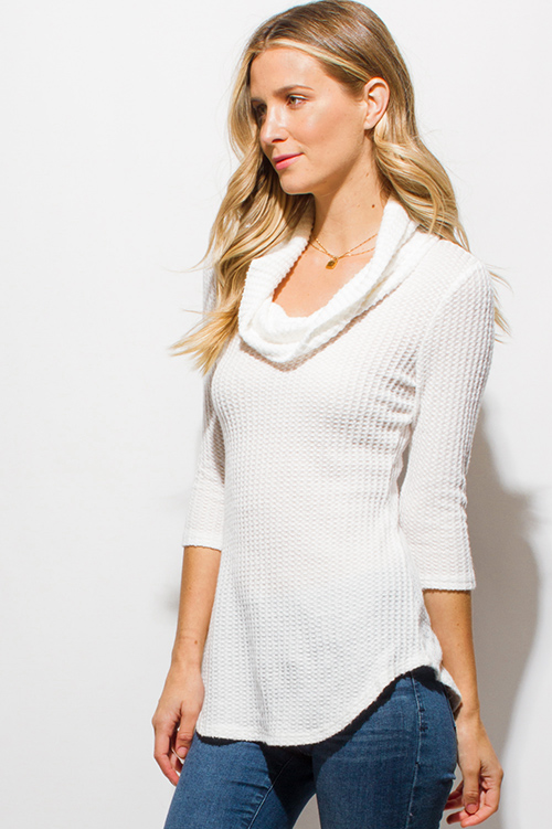 Shop Ivory White Waffle Knit Quarter Sleeve Cowl Neck Cut