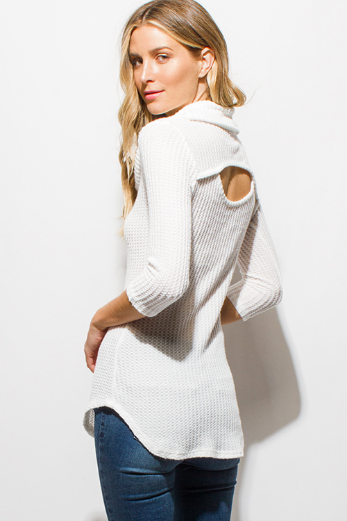 Shop wholesale womens ivory white waffle knit quarter sleeve cowl ...