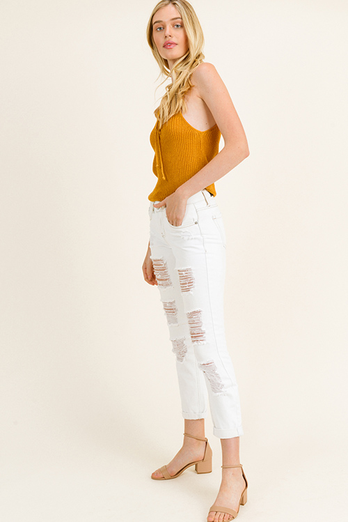 Cute cheap Ivory white washed denim mid rise frayed distressed cuffed hem boho cropped skinny jeans