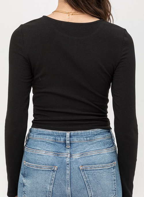 Cute cheap jersey crop knit top