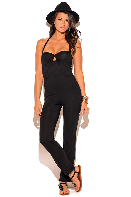 Cute cheap black cut out keyhole sweetheart fitted bodycon evening party jumpsuit