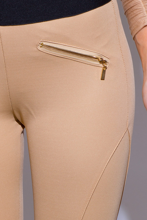 Cute cheap khaki beige banded waist paneled fitted high waisted skinny pants