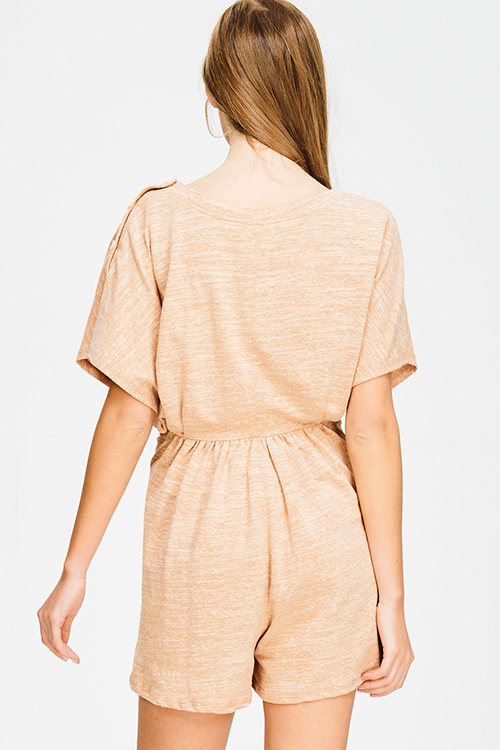 Cute cheap khaki beige cotton blend short sleeve tie waist boho romper playsuit jumpsuit