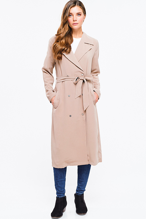 Cute cheap khaki beige double breasted button up tie waist duster trench coat