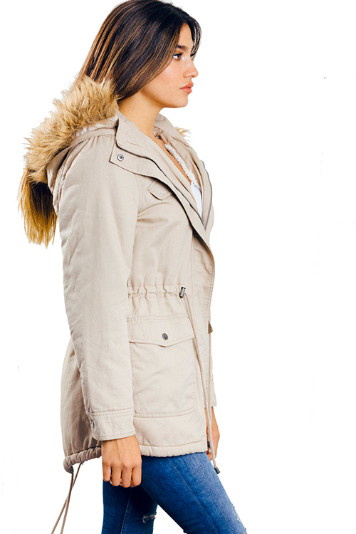 Cute cheap khaki beige drawstring tie waist hooded pocketed puffer anorak coat jacket