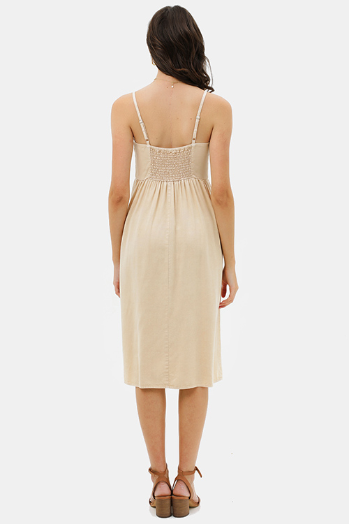 Cute cheap Khaki beige linen sleeveless button trim boho midi sun dress