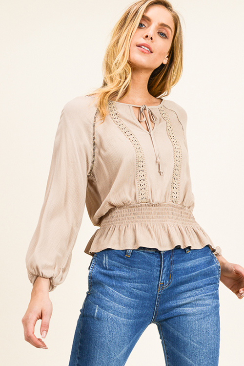 Cute cheap Khaki beige long sleeve crochet lace applique smocked ruffle hem boho peasant blouse top