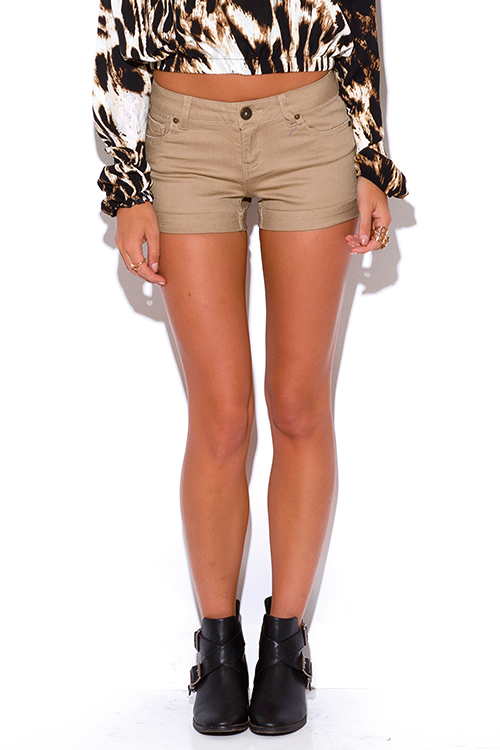 Shop khaki rolled cuff mid rise shorts