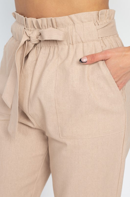 Cute cheap Khaki beige paperbag high waisted pocketed tie waist tapered harem pants