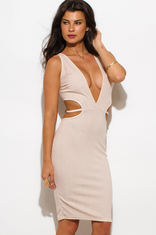 Cute cheap khaki beige striped textured low v neck sleeveless cut out bodycon clubbing midi dress
