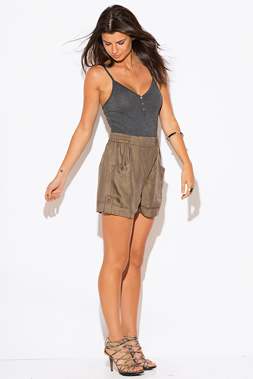 Shop wholesale womens olive khaki high waisted shorts