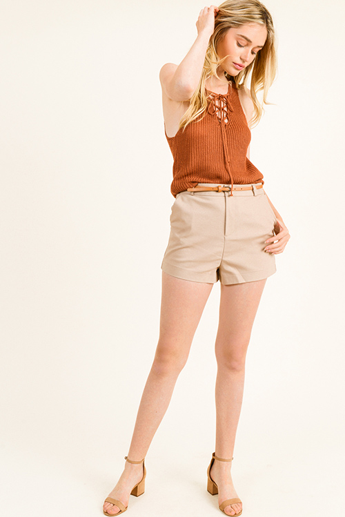 64095809f9 Cute cheap Khaki tan high waisted pocketed belted tailored chino shorts