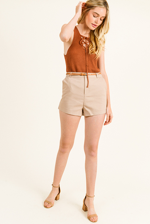 Cute cheap Khaki tan high waisted pocketed belted tailored chino shorts