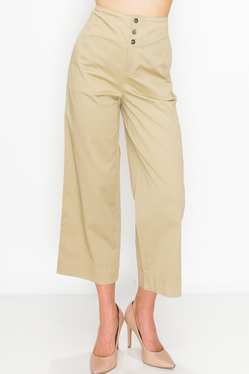 Cute cheap Khaki tan high waisted pocketed boho wide leg culotte pants