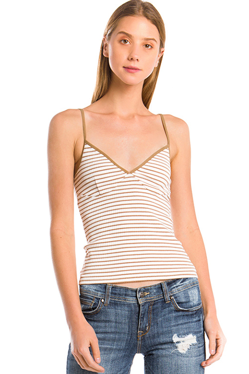 Cute cheap khaki tan striped cotton ribbed knit sweetheart neck bustier fitted tank top