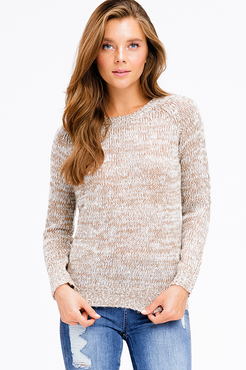 Cute cheap khaki two tone knit round neck long sleeve sweater top