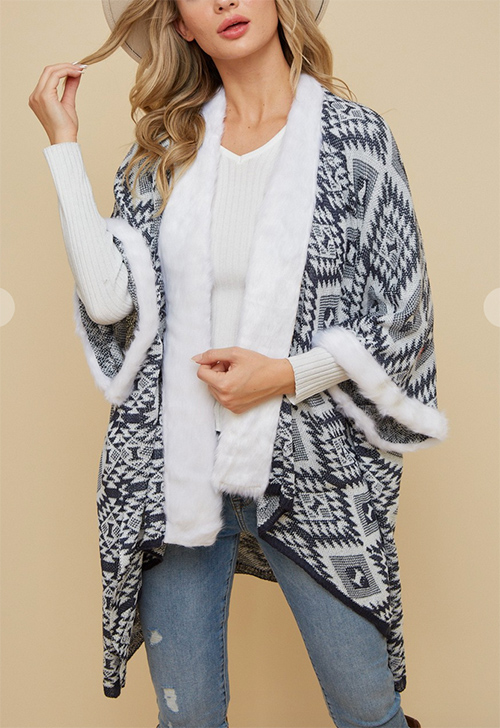 Cute cheap kimono open cardigan with aztec pattern .faux fur trim around the neck and bottom of sleeve.