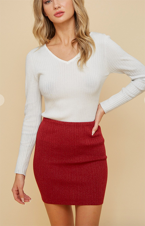 Cute cheap knit skirt with lurex yarn