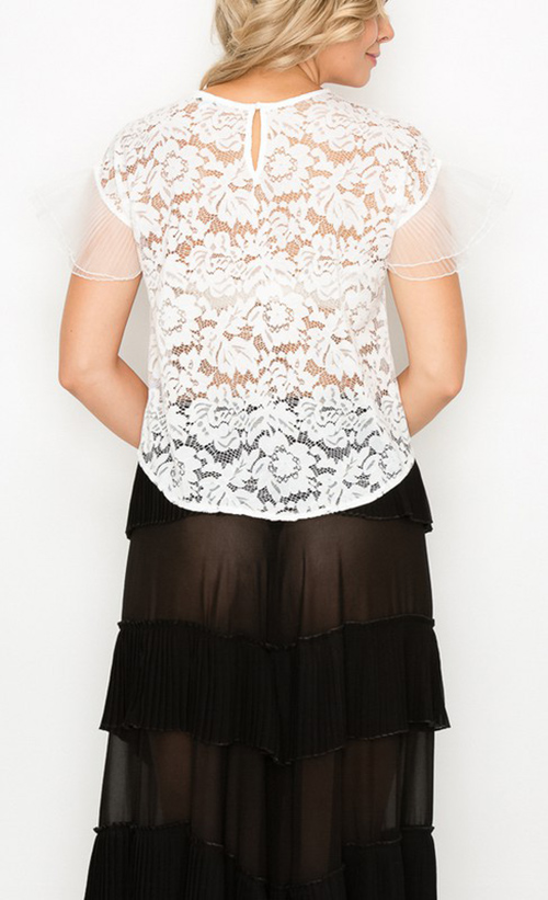 Cute cheap lace chiffon pleats sleeves top