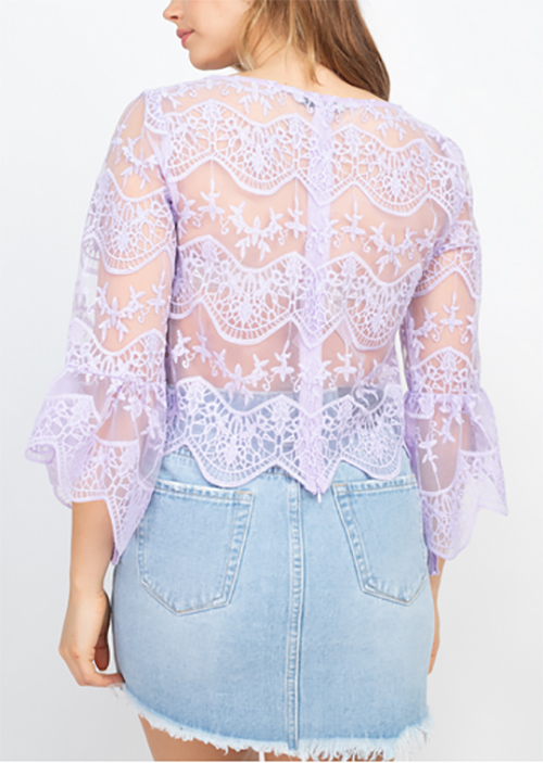 Cute cheap lace scallop hem cropped top